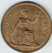 George VI, One Penny 1940 (Scarcer Year), AUNC, M9012